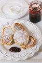 Thick pancakes served with jam Royalty Free Stock Photo