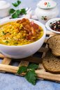 Thick pea soup with bacon Royalty Free Stock Photo