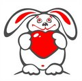 Thick rabbit and heart Royalty Free Stock Photos