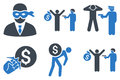 Thief Arrest Flat Glyph Icons Royalty Free Stock Photo