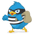 Thief blue bird clipart picture of a cartoon character Royalty Free Stock Images