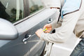 Thief breaking the car lock transportation crime and ownership concept Stock Photography