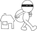 Thief carrying bag hand drawn cartoon loot moving away from house Royalty Free Stock Photos