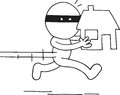 Thief carrying house hand drawn cartoon running Stock Photos