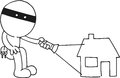 Thief flashing hand drawn cartoon light on house Stock Images