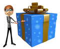 Thief with Gift box Royalty Free Stock Photo