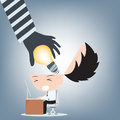 Thief hand open businessman head and steal light bulb idea from his brain, creative concept illustration vector in flat design Royalty Free Stock Photo
