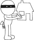 Thief holding house hand drawn cartoon of Royalty Free Stock Photos