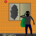 Thief illustration of sneaking with a sack Stock Photography
