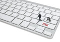 Thief man miniature figure concept steal data on keyboard mini Royalty Free Stock Images
