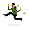 Thief in a mask character running with a backpack full of money Illustration