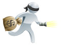 Thief with money and flash light burglar or face mask running off a big sack of a torch or flashlight Stock Photo