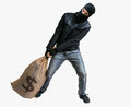 Thief or robber is pulling loot heavy bag full of money isola isolated on white Stock Image
