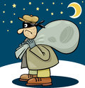 Thief with sack cartoon illustration of at night Stock Photography