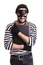 Thief stealing a laptop computer portrait isolated on white background Stock Image