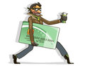 Thief steals credit card money vector illustration cartoon style Stock Photography