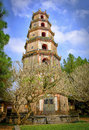 Thien mu pagoda hue vietnam the phuoc duyen tower at the representing the reincarnation of buddha in the imperial city of central Stock Images