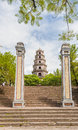 Thien mu pagoda hue vietnam unesco world heritage site main entrance of city Royalty Free Stock Photos