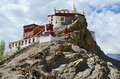 Thiksey gompa buddhist monastery in the himalayas in india ladakh Royalty Free Stock Image