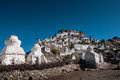 Thiksey monastery temple under blue sky in wide angle Royalty Free Stock Photo