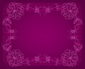 Thin floral frame on a dark pink background Royalty Free Stock Photography