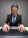 Thin girl young caucasian businesswoman working with laptop Stock Images