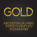 Thin Gold Font and Numbers Stock Image