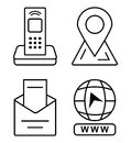 Thin icons for business card. Office phone, marker on the map, email, click to go to website Royalty Free Stock Photo