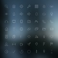 Thin icons vector set of modern simple on blurred background design elements for mobile and web applications Royalty Free Stock Image