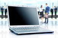 Thin laptop on office desk Royalty Free Stock Photography