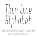 Thin line alphabet. Modern outline typeface.
