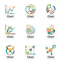 Thin line chart logo set. Graph icons modern colorful flat style