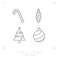Thin line christmas icons. Decoration ball, christmas tree, candy cane.
