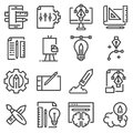 Thin line creative process and project workflow icons set Royalty Free Stock Photo