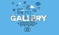 Thin line design concept for gallery website banner vector illustration designer or art portfolio travel photo Stock Image