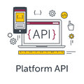 Thin line flat design concept banner for software development. Platform API icon. Programming language, testing and bug