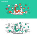 Thin line flat design concept banners for Content Marketing