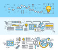 Thin line flat design concept banners for creative process, web design and SEO