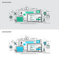 Thin line flat design concept banners for Web Development