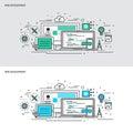Thin line flat design concept banners for Web Development