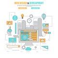 Thin line flat design concept for process web design and development website