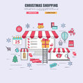 Thin line flat design concept of purchase goods in online store for christmas Royalty Free Stock Photo