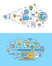 Thin line flat design concepts for internet marketing and website development