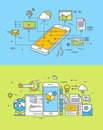 Thin line flat design concepts of mobile site and app design and development