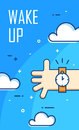 Thin line flat design. Wake up poster. Vector banner with clouds, hand and alarm clock