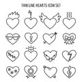 Thin line heart icons. Vector linear broken, marriage and lock hearts signs