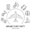 Thin line icons for airplane safety concept