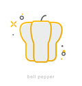 Thin line icons, Bell pepper