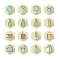 Thin line icons for drinks vector eps Stock Photo