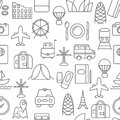 Thin line icons seamless pattern.